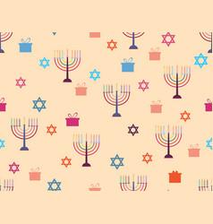 Hanukkah seamless pattern with candlesticks stars vector
