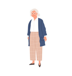 Happy aged gray-haired woman in eyewear vector