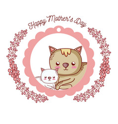happy mothers day card with cute animals cartoons vector image