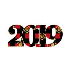 happy new year card black red textured number vector image