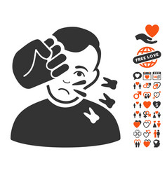 head strike icon with love bonus vector image