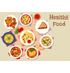 Healthy food with dessert for lunch icon vector image