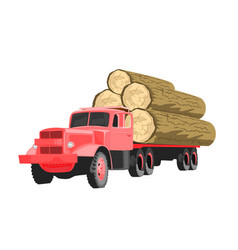 heavy loaded red logging truck vector image