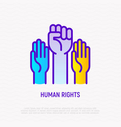 human rights thin line icon two raised hands one vector image