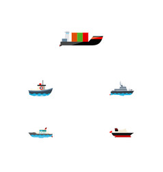 icon flat boat set of cargo yacht transport and vector image