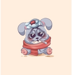 Isolated Emoji character cartoon Gray leveret sick vector