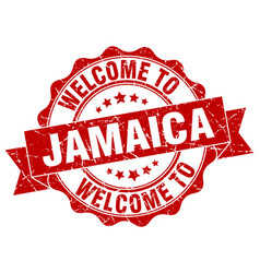 jamaica round ribbon seal vector image