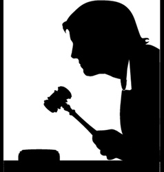 judge hand with gavel silhouette vector image