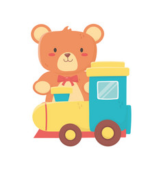 kids toy teddy bear and plastic train toys vector image