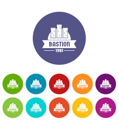 Kingdom bastion icons set color vector