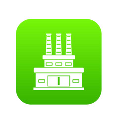 large oil refinery icon digital green vector image