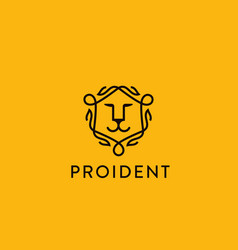 lion face shield logo linear animal head vector image