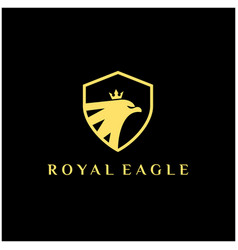 luxury royal eagle logo eagle shield with crown vector image