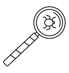 Magnify glass computer virus icon outline style vector