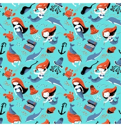 Marine seamless pattern with mermaid vector