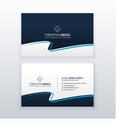 modern blue wavy business card design vector image