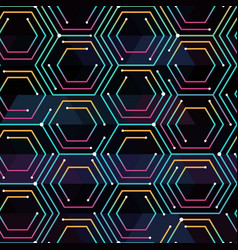 Neon color tech pattern vector