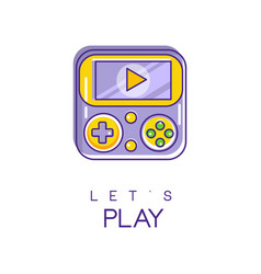 Nintendo game logo in line style with purple and vector