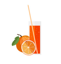 orange juice in a glass with orange in flat style vector image
