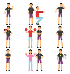 personal fitness trainer cartoon characters set in vector image