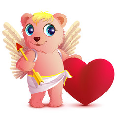 pink bear angel with wings holds heart and arrow vector image