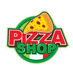 Pizza shop logo design vector