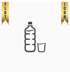 Plastic bottle and glass vector image