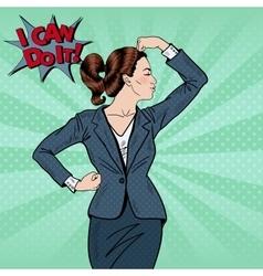 Pop Art Confident Business Woman Showing Muscles vector