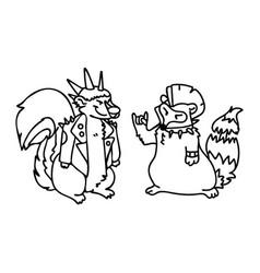 Punk rock raccoon and skunk monochrome lineart vector