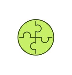 puzzle concept round green icon or symbol vector image