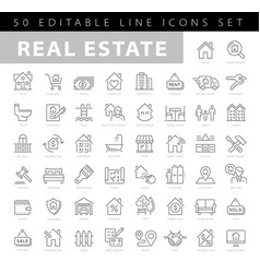 Real estate editable stroke line icons vector
