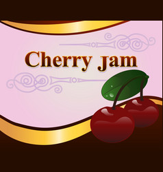 red cherry jam label design template vector image