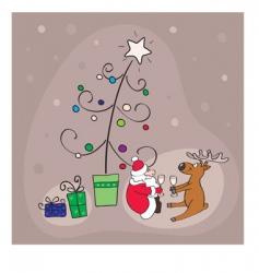Santa and reindeer vector image