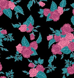 Seamless floral pattern with outline pink roses vector image