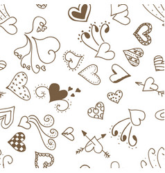seamless pattern background with ink hearts vector image