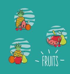 Set of fruits cartoons vector