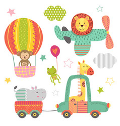 Set of isolated transport with baby jungle animals vector