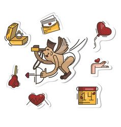 set of stickers with flying cupid vector image