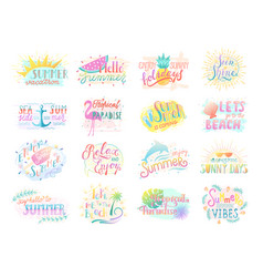 set summer badge lettering positive quote vector image