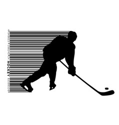 silhouette of a hockey player and barcode vector image