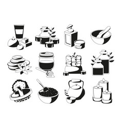 Spa and health set in monochrome vector