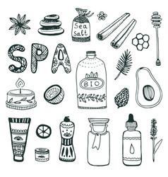 spa hand dawn collection beauty icon set original vector image