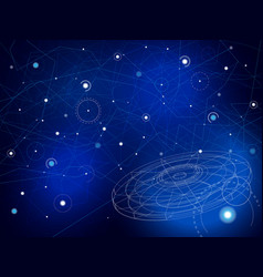 space map with ufo stars and lines on blue vector image