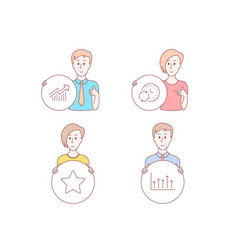 Star update time and demand curve icons growth vector