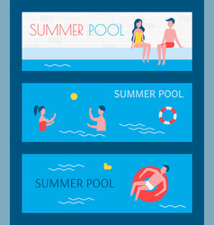 Summer pool couple and person vector