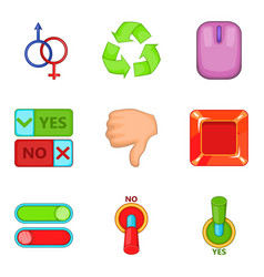 switch icons set cartoon style vector image