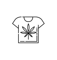 t-shirt with cannabis leaf line icon - thin vector image