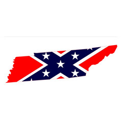 Tennessee map and confederate flag vector