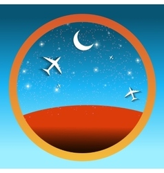 Travel Round Icons with the Landscape vector image