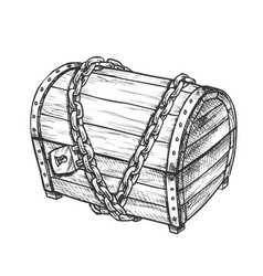 Treasure chest with padlock monochrome vector